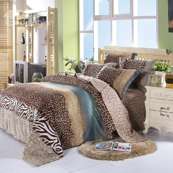 100% Cotton Elegant Color Leopard Print 4 Piece Bedding Sets/Duvet Cover Sets